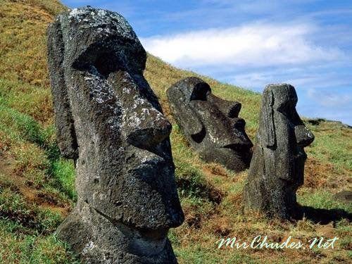 У подножия вулкана Рано Рараку разбросано около 150 вырубленных из камня, но еще окончательно не законченных 20-метровых великанов.