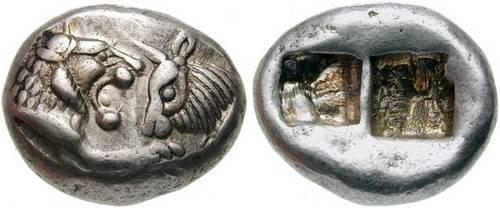 Серебряная монета древней Лидии, Крез (ок. 560-546 до н.э.) 1/2 статера.