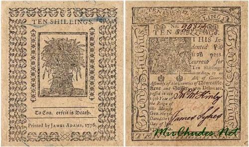 Подделка карается смертью - надпись на банкноте в 10 шиллингов. США, 1776 год.