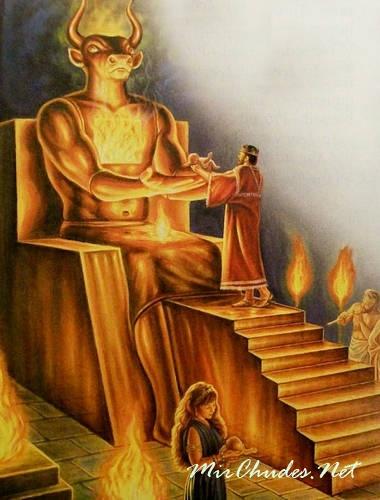 Одним из самых жестоких богов древности был Ваал - его культ сопровождался массовыми жертвоприношениями маленьких детей.