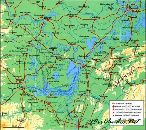 Озеро Дунтинху на карте