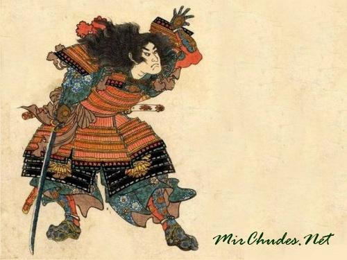 Самурай с нагината. Гравюра Утагава Куниеши, 1849 год.