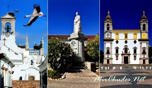 Слева: Белые аисты на Городской арке Фару — символ города. В центре: статуя епископа Франсишку-Гомиша-ду-Авелара, по чьей инициативе была построена эта арка. Справа: церковь Богоматери Кармель и ее знаменитый трехъярусный фасад ретабло.