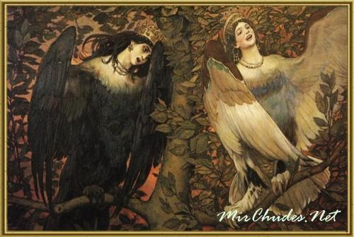 Сирин и Алконост. Песнь радости и печали. 1896. Холст, масло.